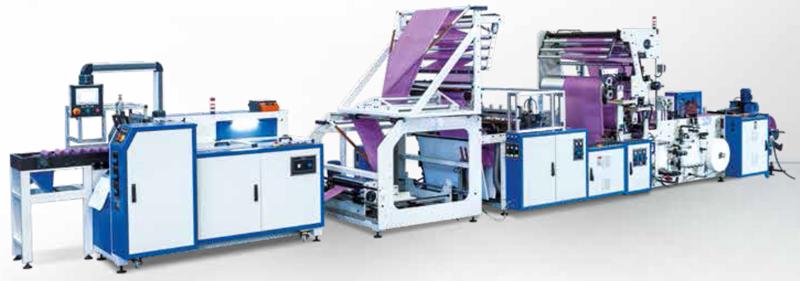 PSD-INT 1200. Máquina para fabricar bolsas para basuraen rollo superpuestas con cierre facil.