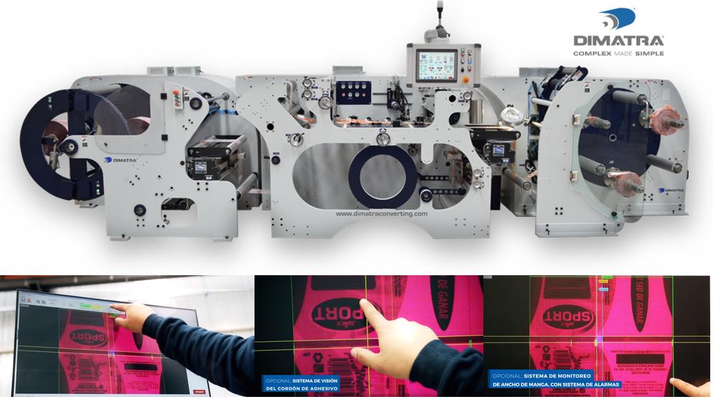 Máquina formadora de funda/manga termorretráctil y sistema de visión