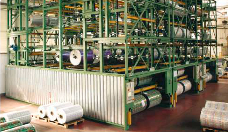 Almacén automático vertical rotatorio para bobinas de embalaje flexible