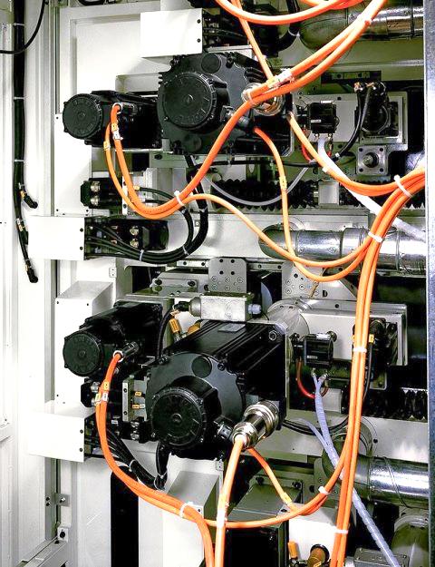 Detalle de la impresora flexografica de tambor central sin transmisión de engranajes.