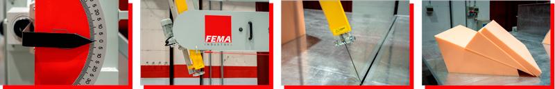 De izquierda a derecha: regulador del ángulo de corte, cuchilla basculante, mesa de corte y espumas de Pu cortadas en ángulo.