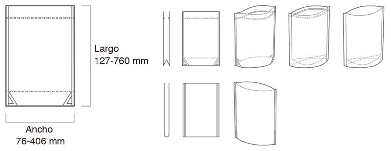 Tamaños y tipos de bolsas doypack confeccionadas con la SUP-760