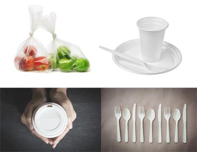 Ejemplos de productos producidos a partir de los bioplásticos GEMABiO®. Bolsas, vasos, cubiertos, etc.