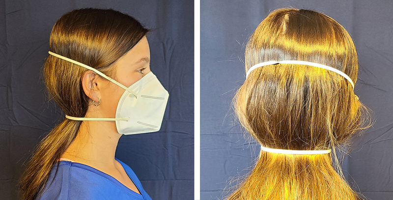 Mascarilla FFP2 con sujección de gomas elásticas en la cabeza confecconables con la MGA-MSK-KN95HL.
