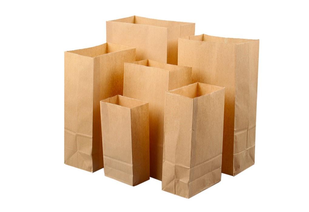 Bolsas de papel kraft de fondo cuadrado o americano