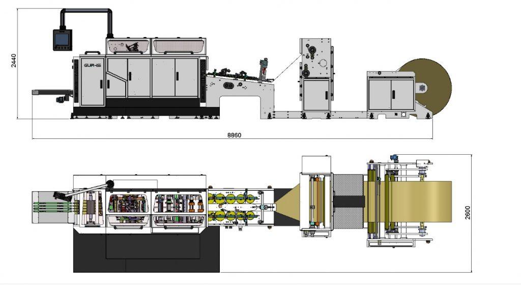 Layout máquina GP-25S de Gur-Is para bolsas de papel de fondo cuadrado sin asas