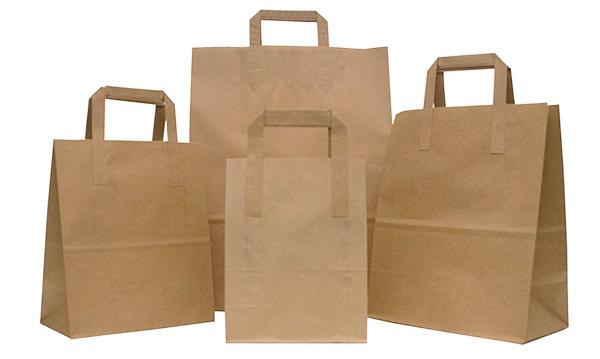 Bolsas de papel de fondo cuadrado con asa plana