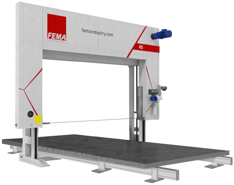 Máquina de corte horizontal de espuma modelo HS de Fema Industry.