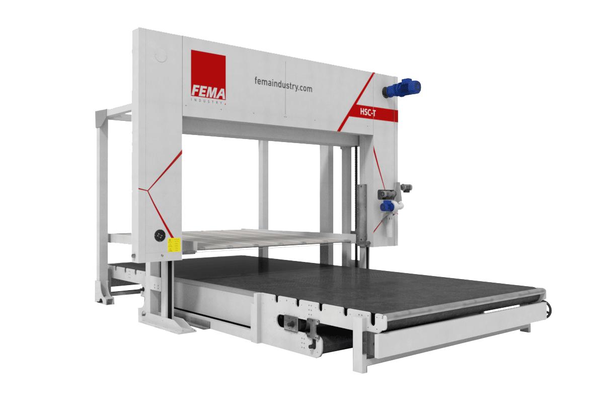 Máquina de corte horizontal automático para espumas HSC-T de Fema Industry.