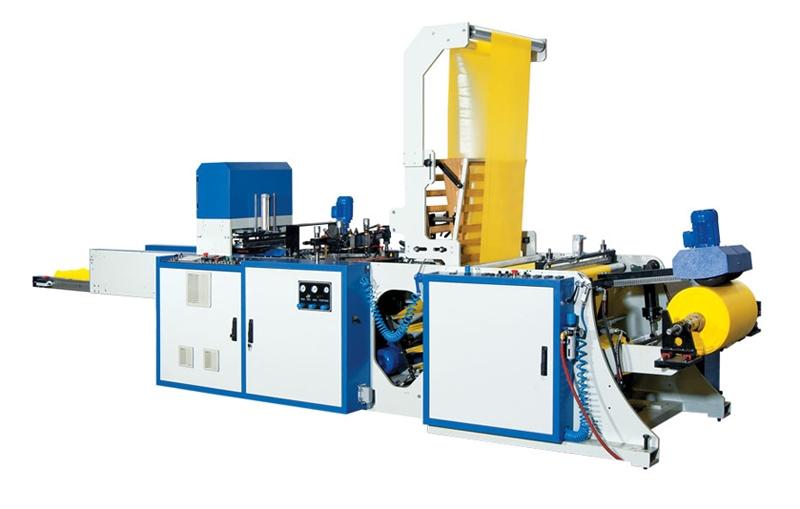 Máquina para bolsas camiseta de línea única de producción.