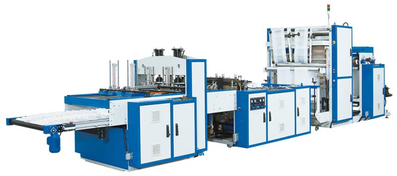 Máquina automática para bolsas camiseta de doble línea de producción.