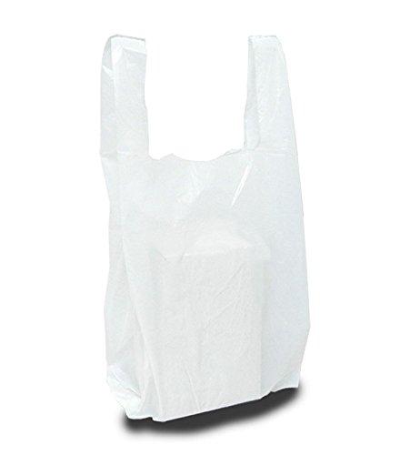 Bolsa de plástico tipo asa camiseta blanca.