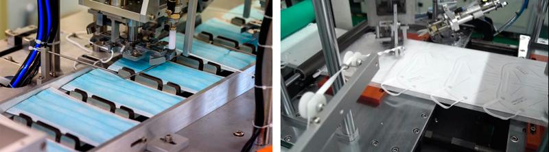 Máquinas automáticas de confección de mascarillas quirúrgicas y FFP2 soldando las gomas elásticas.
