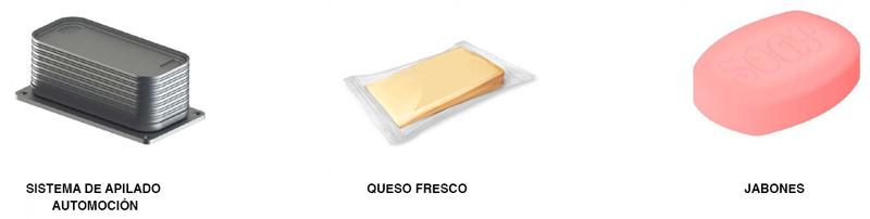 Otros productos empaquetables con las líneas de packaging automatizadas de CT Pack. Elementos mecánicos de automoción, queso fresco o jabones.