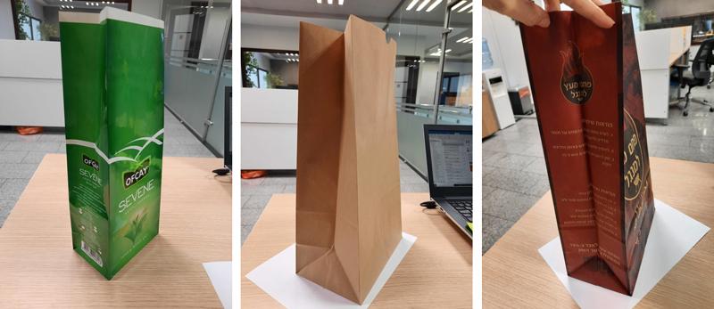 Ejemplo de bolsas y sacos de papel de fondo cuadrado fabricados con la GP-25S de Gur-Is. A la izquierda, bolsa laminada para alimentación. En el centro, bolsa de papel kraft con troquelado en un extremo para abrirla más facilmente. A la derecha, saco de papel para carbón.