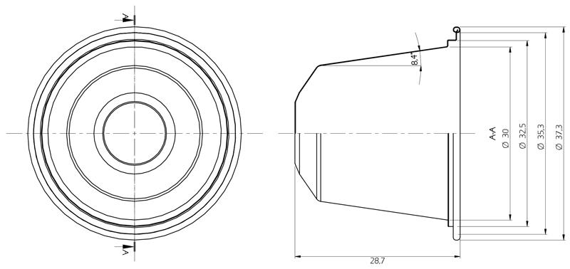 Esquema de la cápsula de aluminio compatible con las máquinas Nesspresso®.