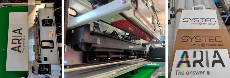 De izquierda a derecha, cinta transportadora, cabezal impresor y bolsas de papel impresas con la impresora digital Aria.