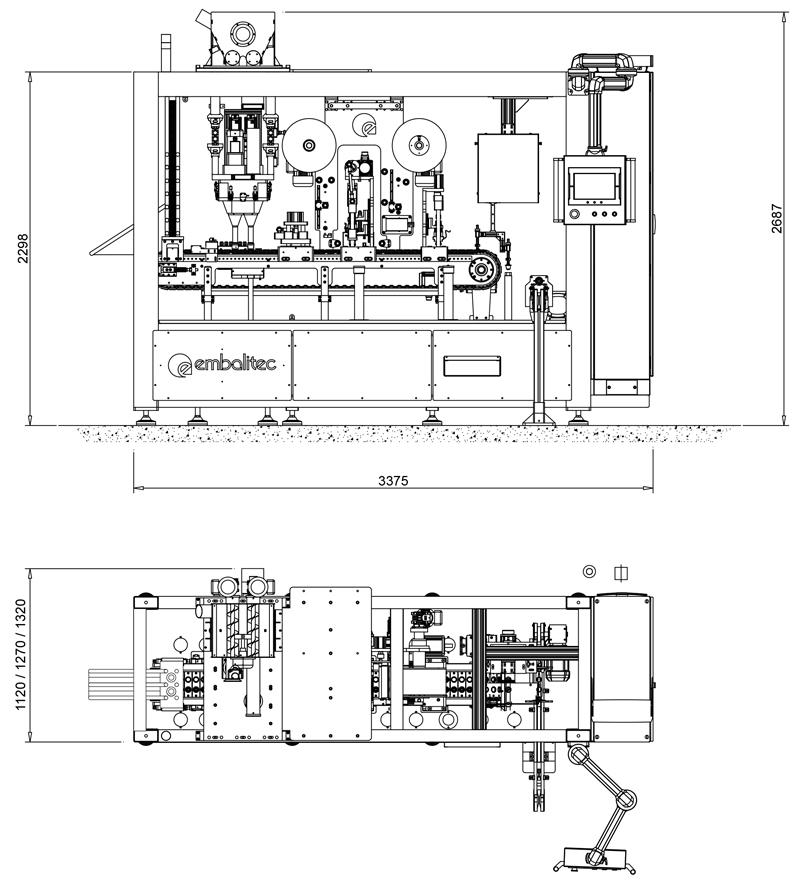 Diagrama de la encapsuladora automática de café Kapsel-NP-ALU.